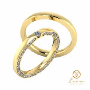 verighete din aur cu diamant patrat si diamante