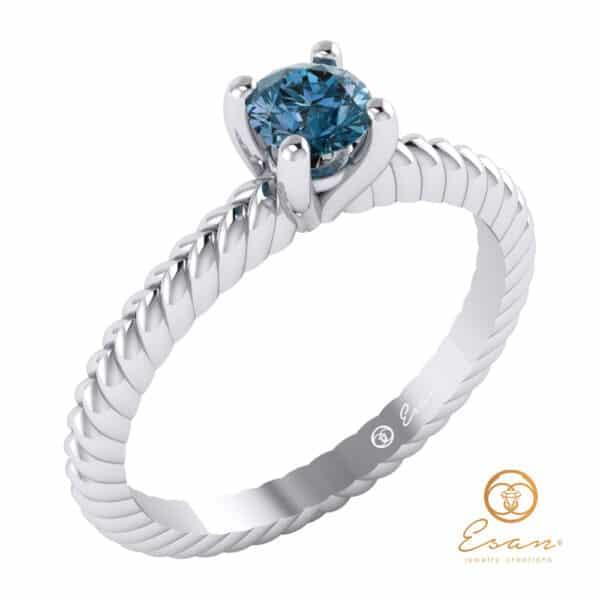 inel cu diamant albastru ES132-A