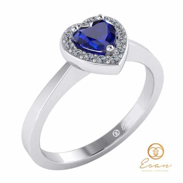 inel de logodna anturaj din aur cu safir si diamante ES146