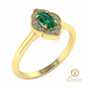 inel de logodna anturaj din aur cu smarald si diamante ES76