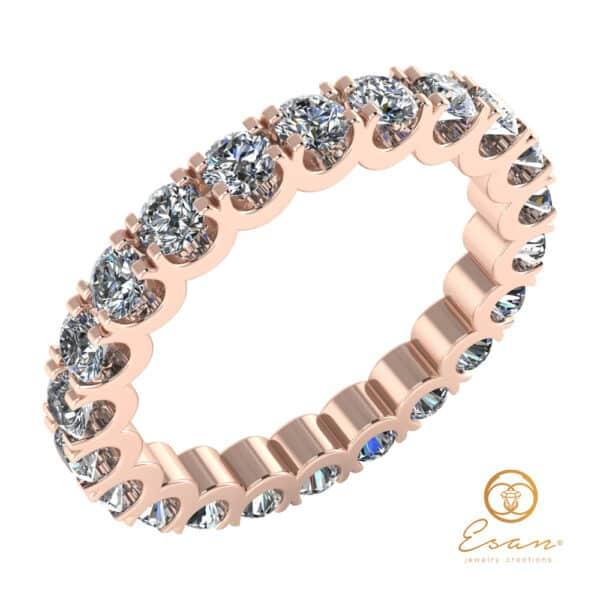 Inel de logodna cu diamante din aur roz