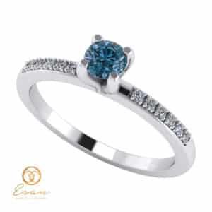 Inel de logodna din aur cu diamant albastru