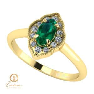 inel de logodna din aur cu smarald si diamante