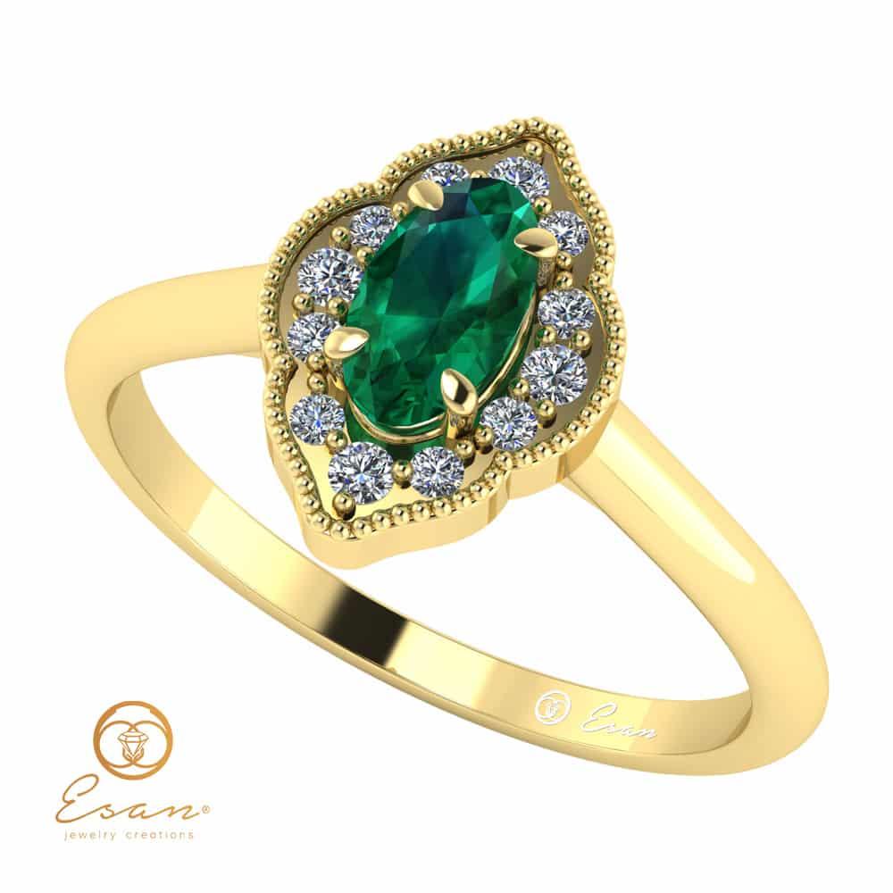 Inel Logodna Aur Smarald Diamante Rubin
