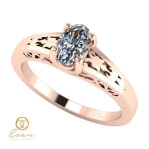 Inel de logodna din aur roz cu diamant oval ESD127