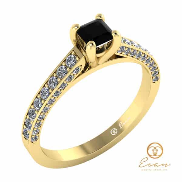 inel de logodna din aur cu diamant negru si diamante