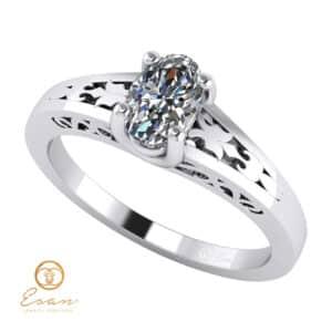 Inel de logodna din aur cu diamant oval ESD127