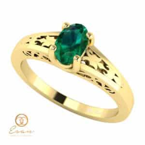 Inel de logodna din aur cu smarald ES127