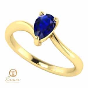 Inel de logodna din aur cu safir lacrima model solitaire