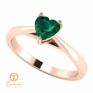 Inel de logodna din aur cu smarald ES126