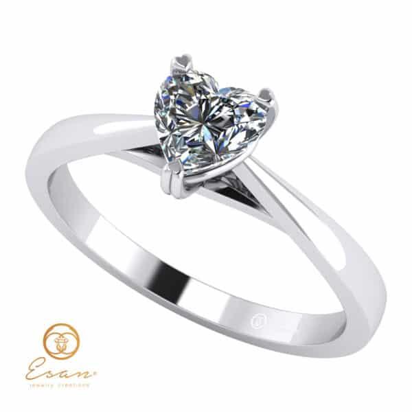 Inel de logodna din aur cu diamant inima model solitaire ES126