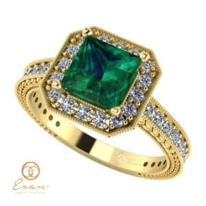 Inel de logodna din aur cu smarald ES129