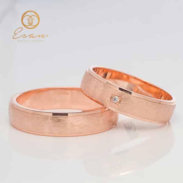 verighete din aur roz cu diamant