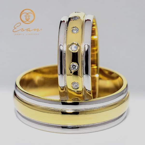 din aur galben si alb cu diamante ES