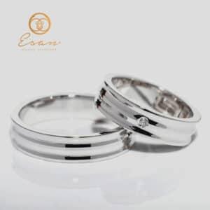 Verighete din aur alb cu diamant ESV129