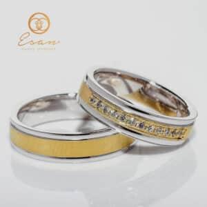 Verighete din aur galben si alb cu diamante naturale