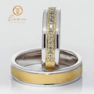 din aur galben si alb cu diamante naturale ESV77