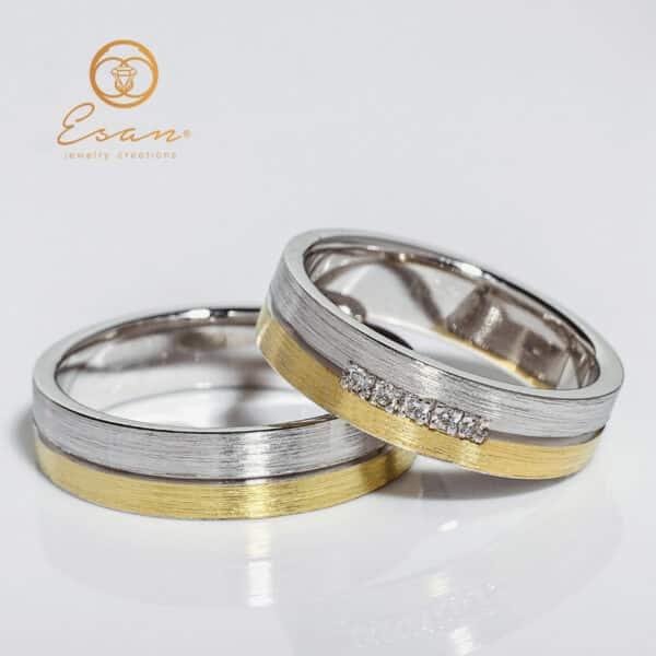 Verighete din aur 14k galben si alb cu diamante ESV78