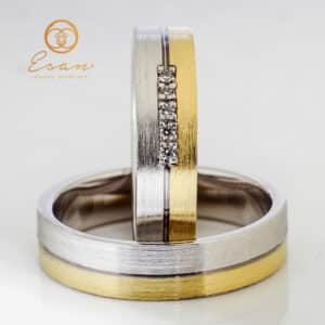 din aur 14k galben si alb cu diamante ESV78