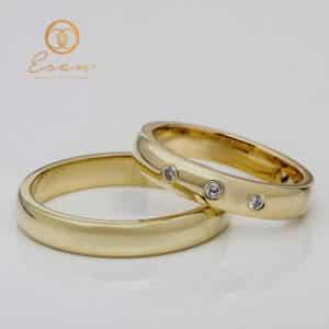 Verighete clasice din aur galben cu diamante