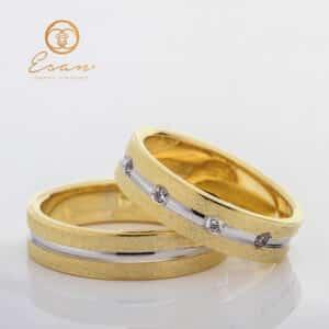 Verighete din aur galben cu diamante ES