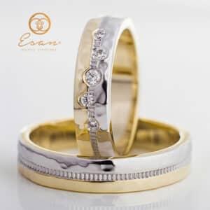 din aur galben si alb cu diamante ESV89