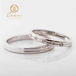 Verighete din aur simple cu diamante ESV91