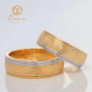 Verighete din aur galben si alb cu diamante ESV122