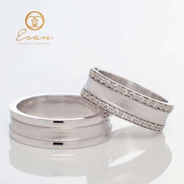 Verighete din aur alb 14k cu diamante ESV92