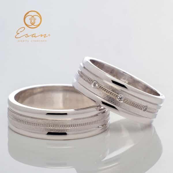 Verighete din aur alb cu diamante ESV93