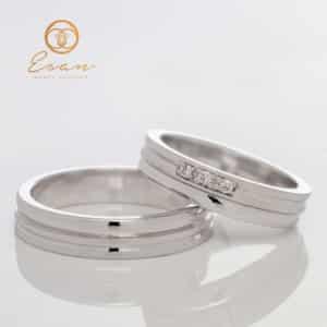 Verighete din aur alb cu diamante ESV94