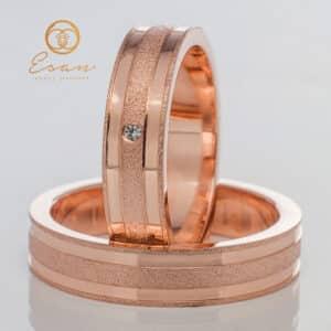 din aur roz latime 4 mm cu diamant ESV95