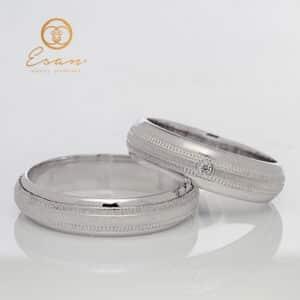 Verighete din aur alb 14k cu diamant ESV96