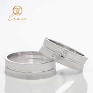 Verighete din aur alb cu diamante ESV99