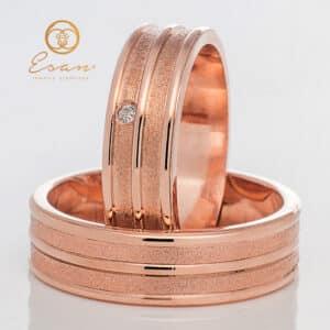 din aur roz 14k cu diamant ESV100