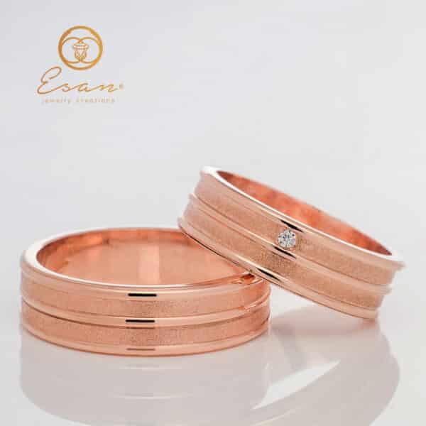 Verighete din aur roz 14k cu diamant ESV100