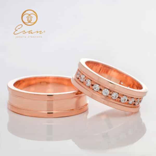 Verighete din aur roz cu diamante ESV101