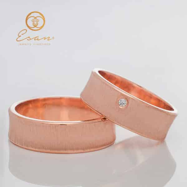 Verighete din aur roz cu diamant ESV102