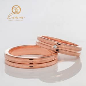 Verighete din aur roz cu diamant ESV103