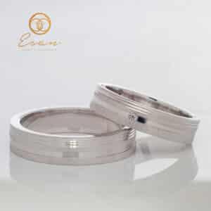 Verighete din aur alb cu diamant ESV104