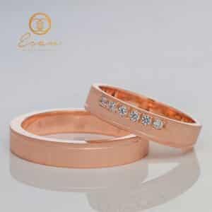 Verighete din aur roz cu diamante ESV107