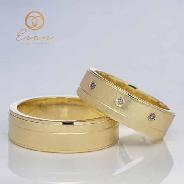 Verighete din aur galben cu diamante ESV108