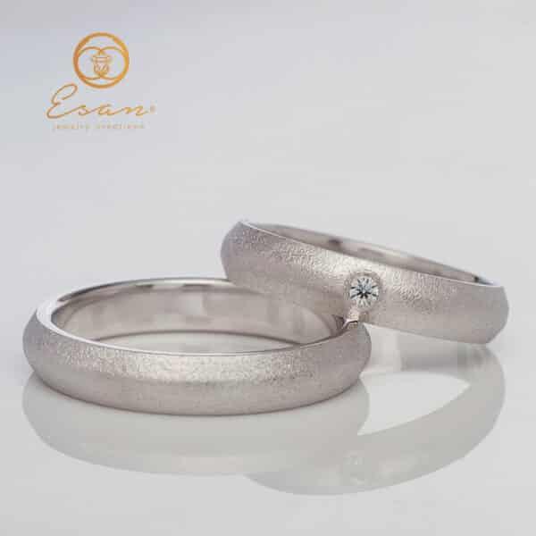 Verighete din aur alb cu diamante ESV110