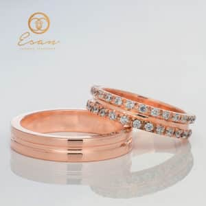 Verighete din aur roz cu diamante ESV111