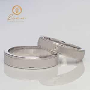 Verighete din aur alb cu diamant ESV112