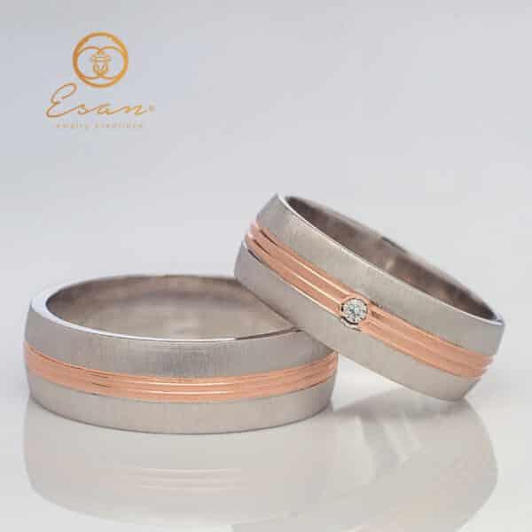 Verighete din aur roz si alb cu diamant ESV113