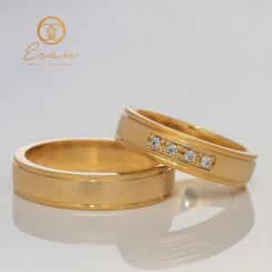 Verighete din aur galben cu diamante ESV114