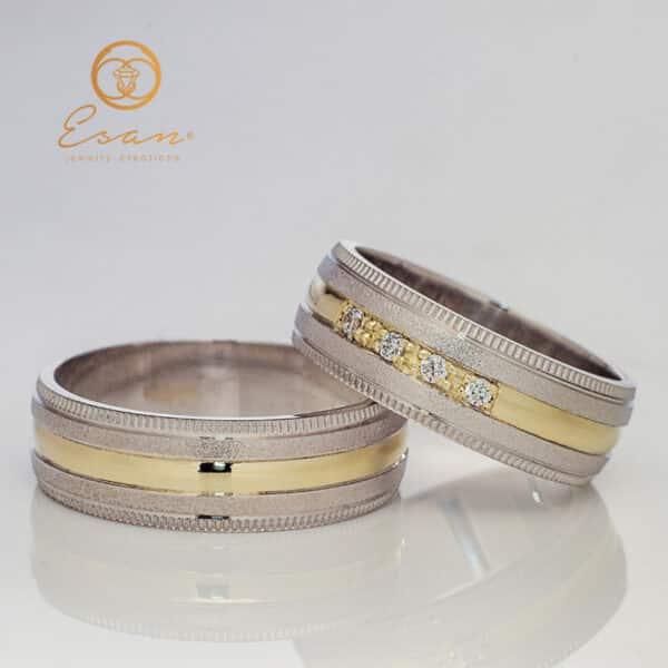 Verighete din aur alb si galben cu diamante ESV115