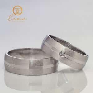 Verighete din aur alb cu diamant ESV116