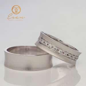 Verighete din aur alb cu diamante ESV117
